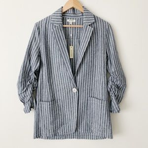 Max Studio Oversized Linen Blazer Striped
